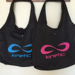 Foldable tote bag with neon red and neon blue imprint