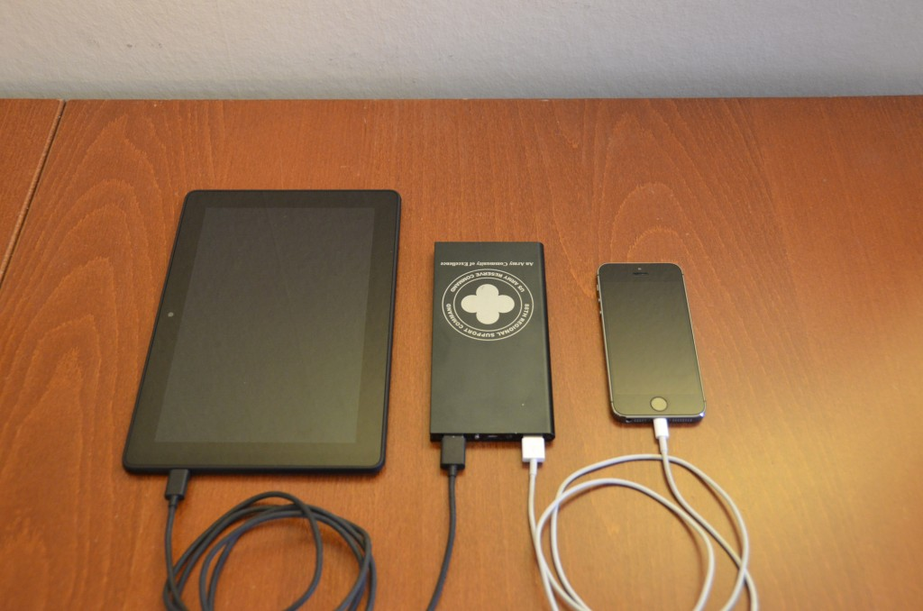 Slim power bank in aluminum case with dual outputs