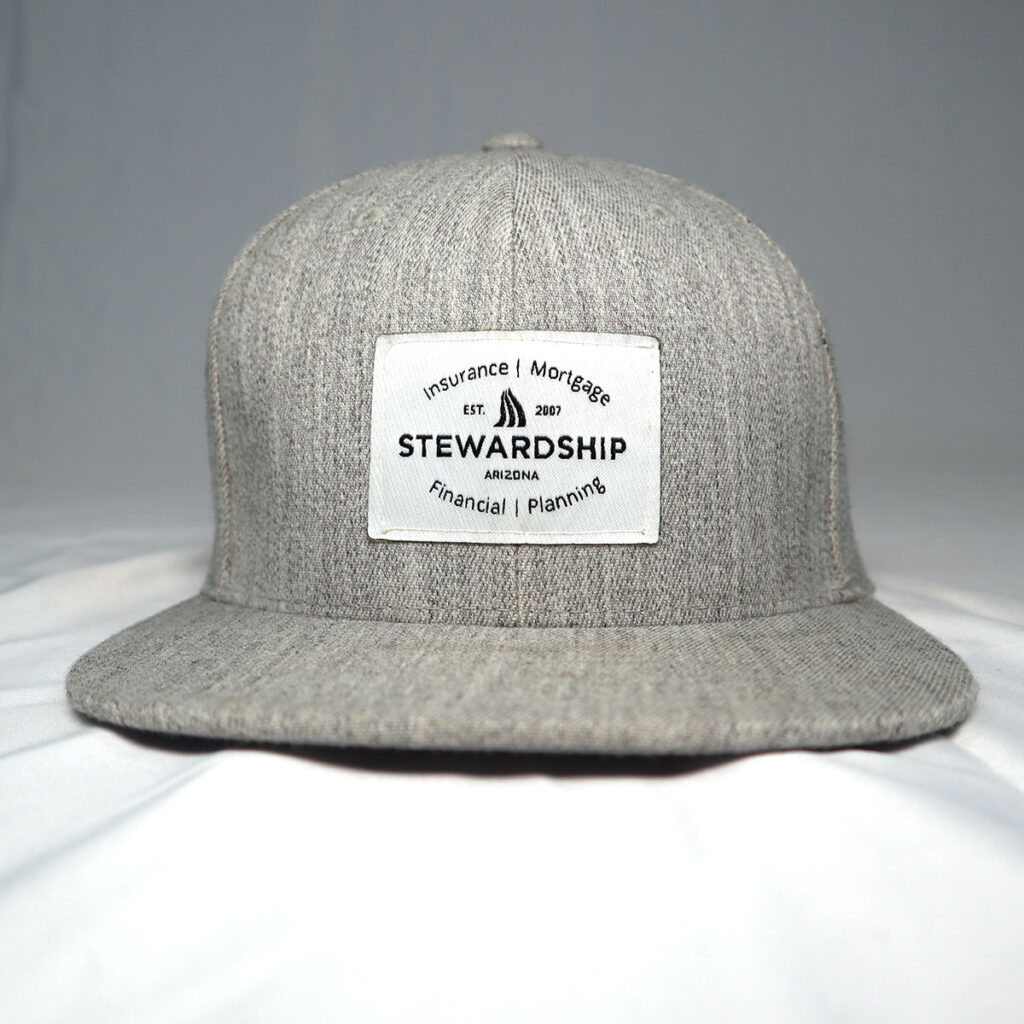 Grey Wool Hat Snapback with woven patch