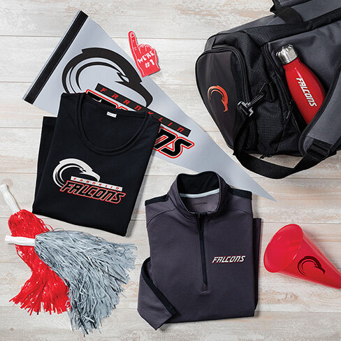 sports team fan gear with t-shirt, pennant, duffel bag and water bottle
