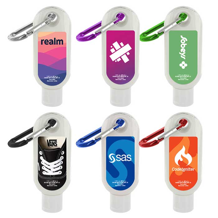 sunscreen with colorful carabiner